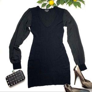 Bebe Bodycon Dress Black Sheer Long Sleeve Large